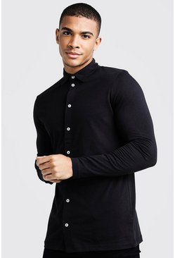 Mens Black Long Sleeve Jersey Shirt