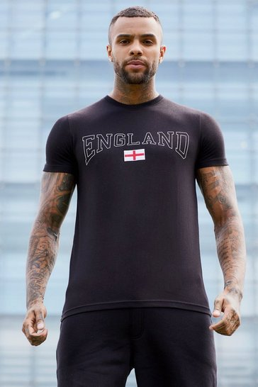 Black Short Sleeve England T-Shirt