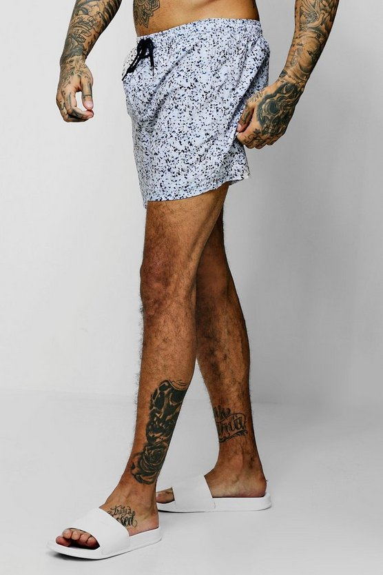 Paint Splatter Mid Length Swim Short