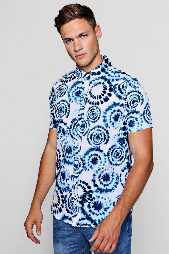Tie Dye Print Short Sleeve Shirt