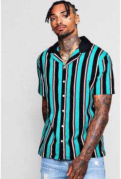 Mens Green Vertical Stripe Revere Short Sleeve Shirt