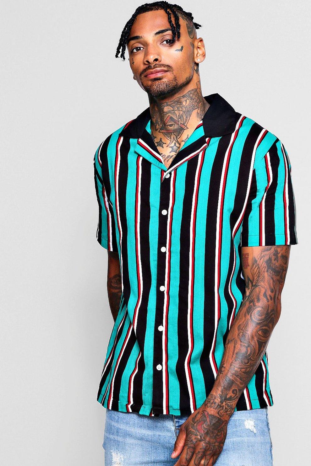 b1f6af01 Mens Green Vertical Stripe Revere Short Sleeve Shirt