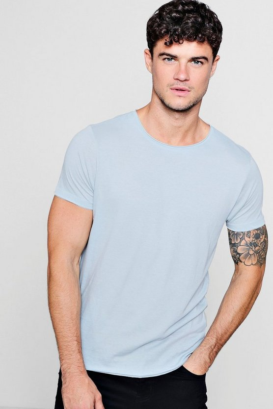 Mens Pale blue Raw Edge Crew Neck T-Shirt