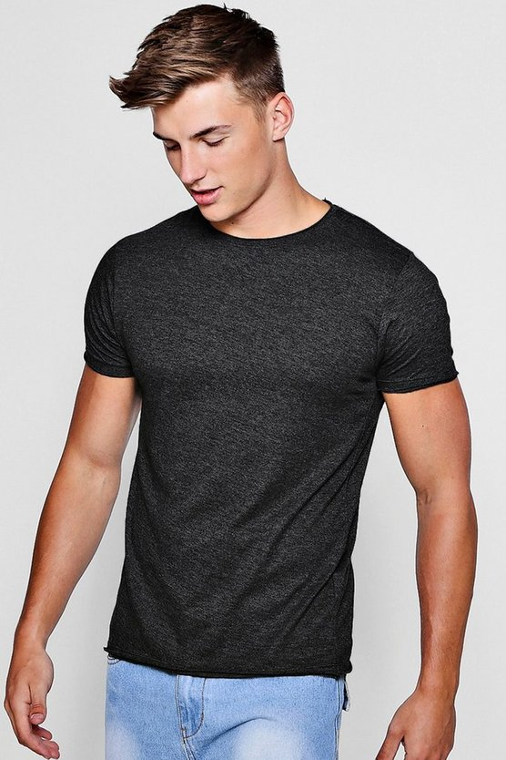 Charcoal Raw Roll Edge Crew Neck T-Shirt