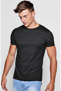 Mens Charcoal Raw Roll Edge Crew Neck T-Shirt