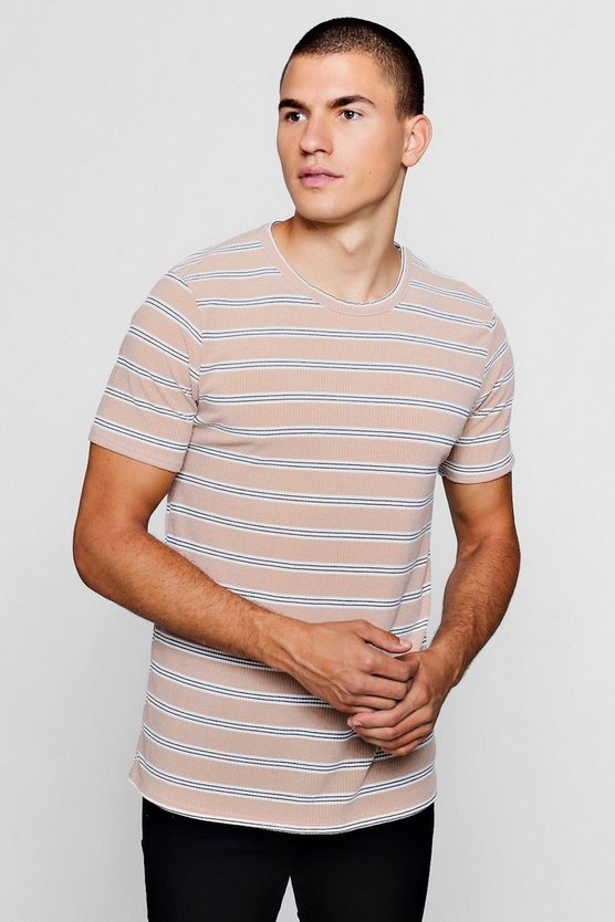 Ribbed Crew Neck T-Shirt With Stripe