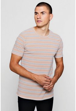 Mens Stone Ribbed Crew Neck T-Shirt With Stripe