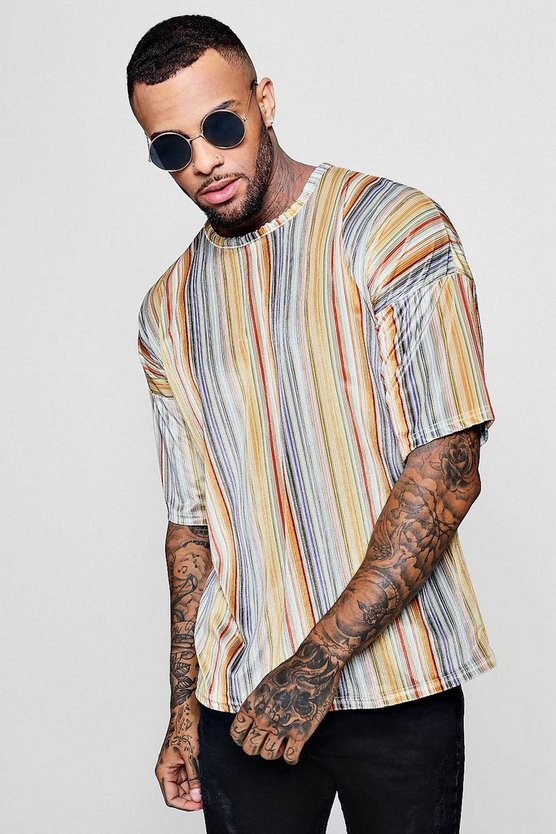 Mens Multi Drop Shoulder Stripe Velour T-Shirt