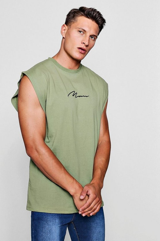MAN Signature Embroidered Sleeveless T-Shirt