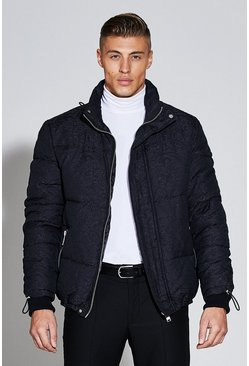 Mens Black Premium Short Length Jacquard Puffer Jacket