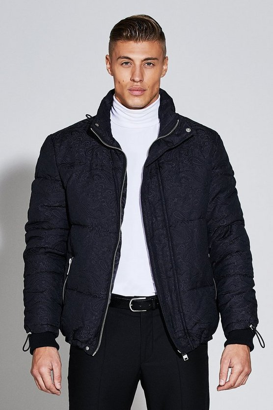 Premium Short Length Jacquard Puffer Jacket, Black, Uomo