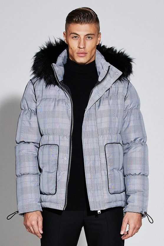Mens Grey Premium Short Length Printed Check Puffer Jacket