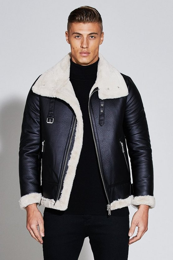 Premium Oversized Faux Leather Flight Jacket