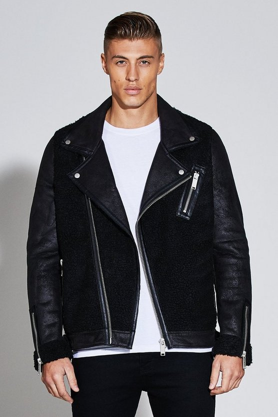 Mens Black Premium Oversized Borg Panel Biker Jacket
