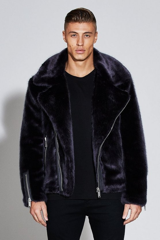 Premium Oversized Faux Fur Biker Jacket