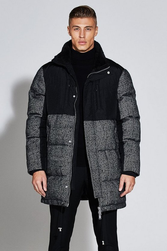 Black Premium Wool Mix Herringbone Parka Jacket