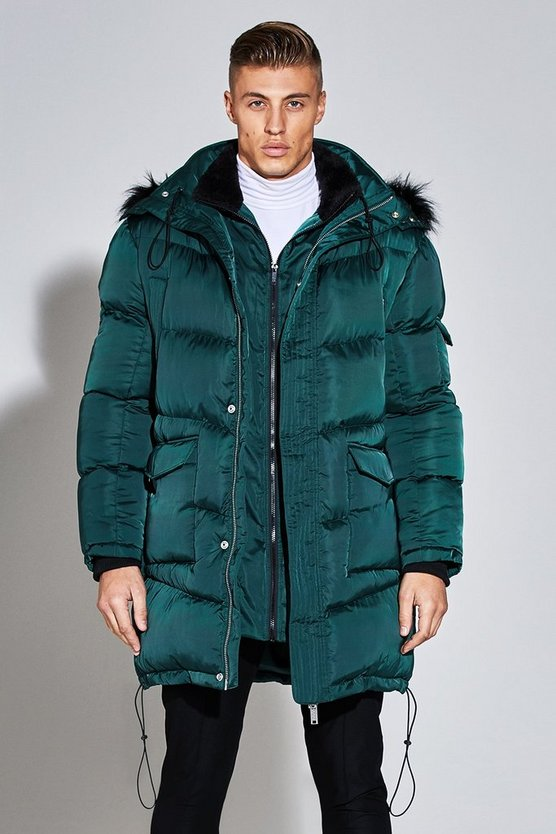 Mens Emerald Premium Satin Puffer Jacket