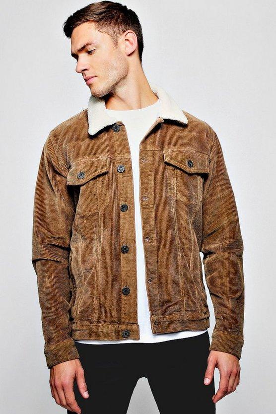 Brown Borg Collar Corduroy Jacket by Boohoo Man