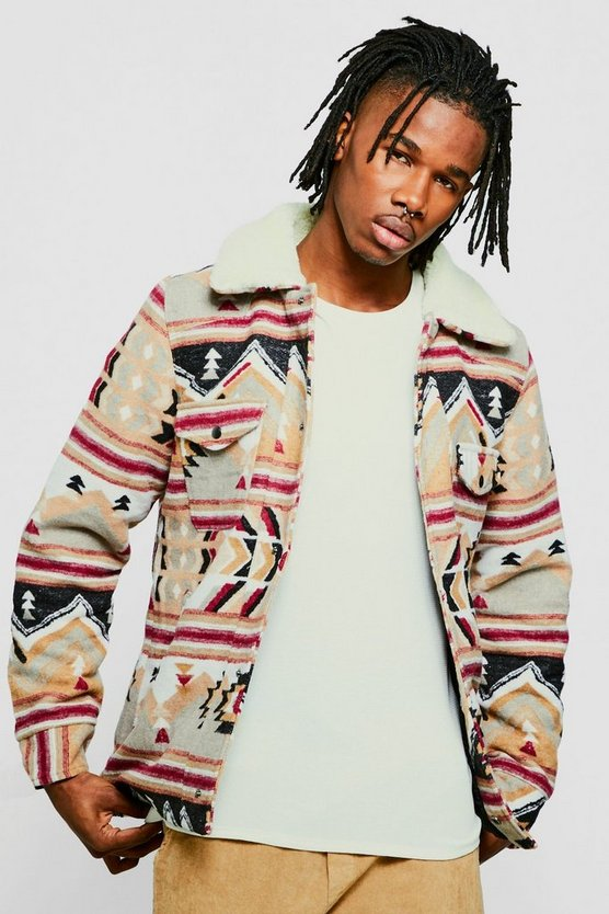 Wool Blend Navajo Trucker Jacket With Borg Collar