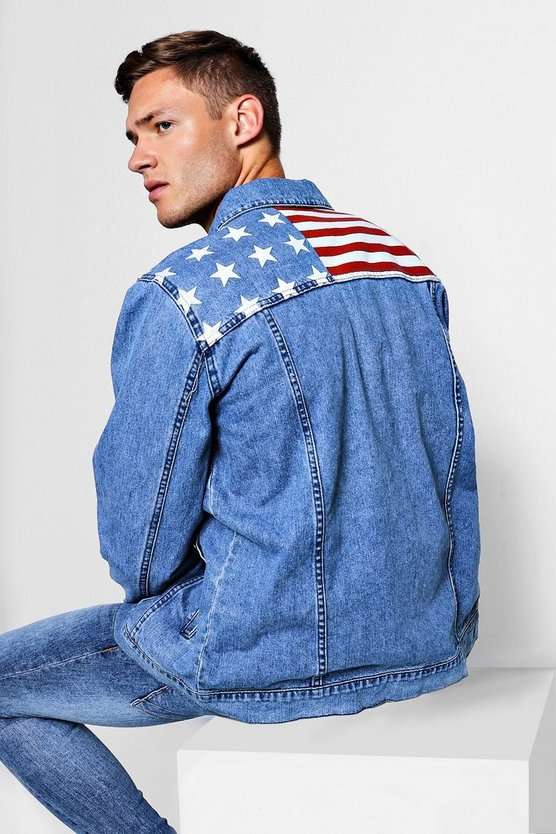 Mid blue American Flag Print Denim Jacket