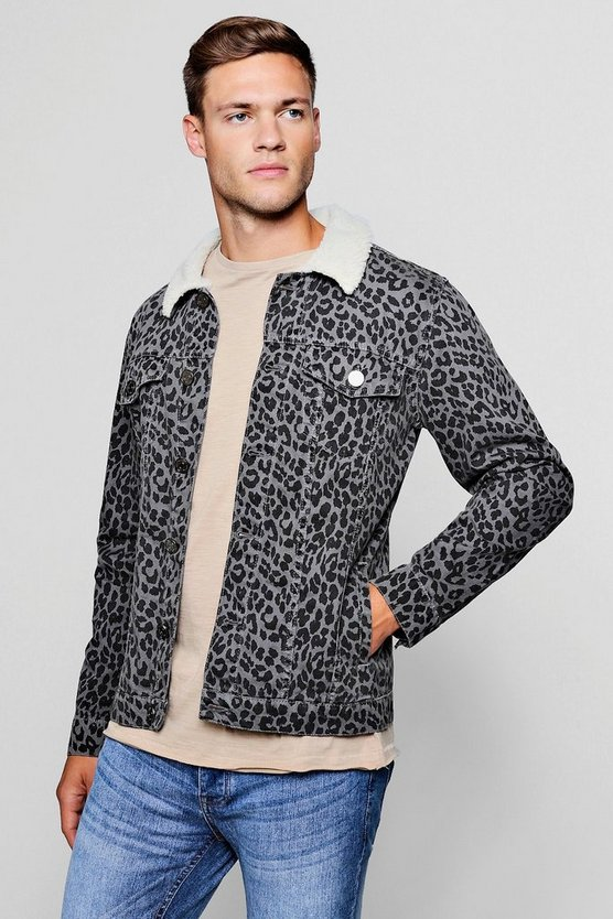 Borg Collar Leopard Denim Jacket