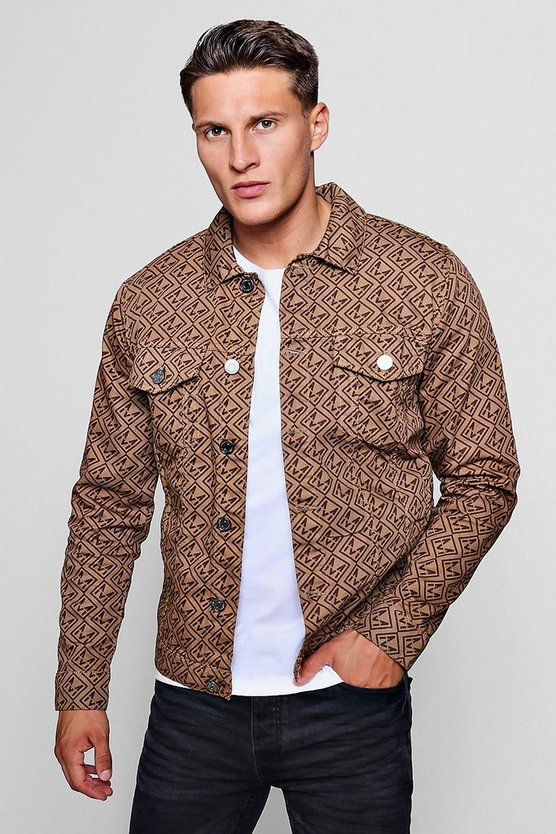 MAN Repeat Print Denim Jacket