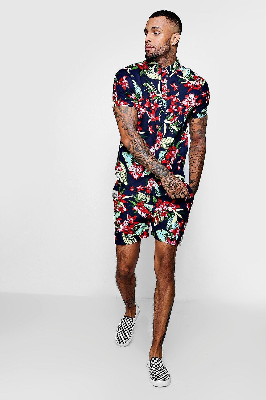 5e6ace57 Floral Print Short Sleeve Shirt And Short Set | Boohoo