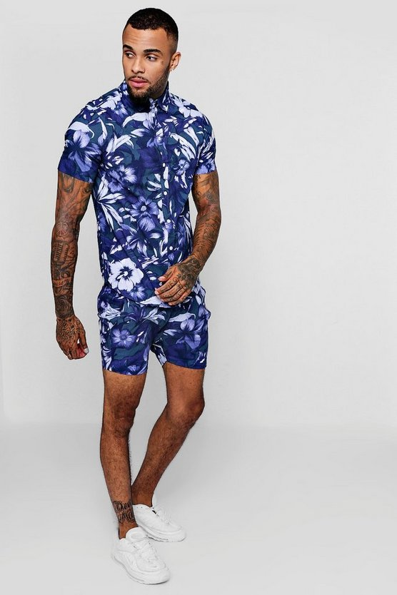 Floral Print Short Sleeve Shirt And Short Set