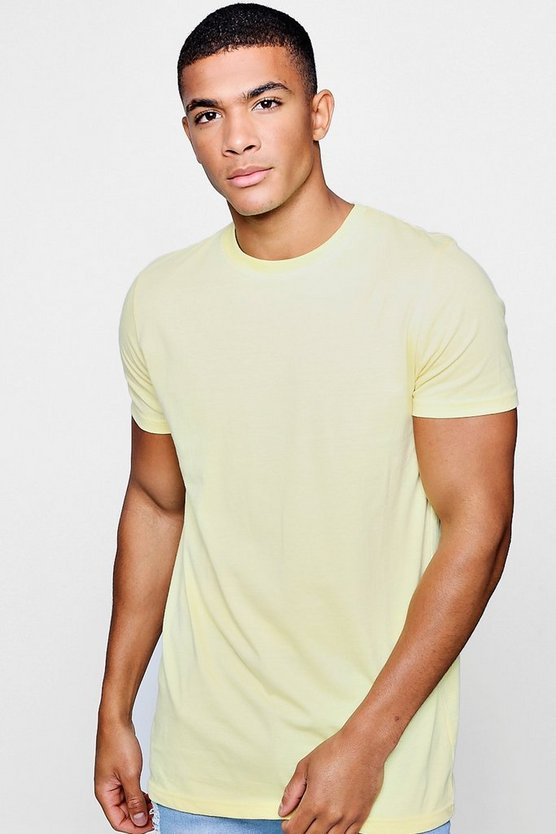 Longline Crew Neck T-Shirt, Lemon, Uomo