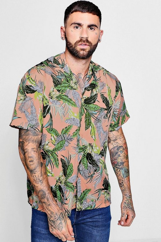 Tropical Leaf Print Revere Collar Oversized Shirt