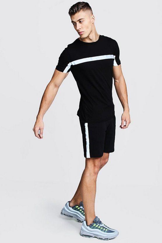 Mens Black Reflective Tape Tee And Short Set
