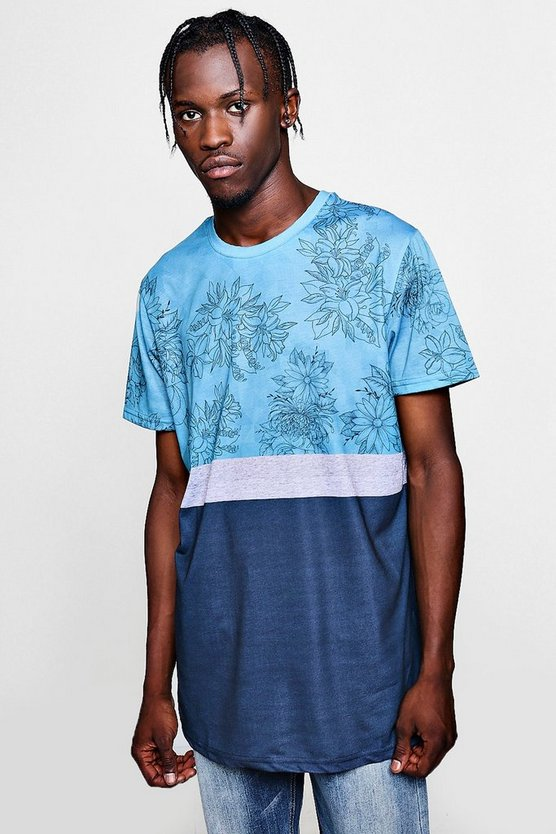 Mens Blue Longline Curved Hem Colour Block Print Tee