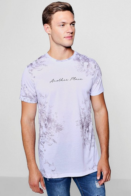 Mens Grey Another Place Floral Longline Print T-Shirt