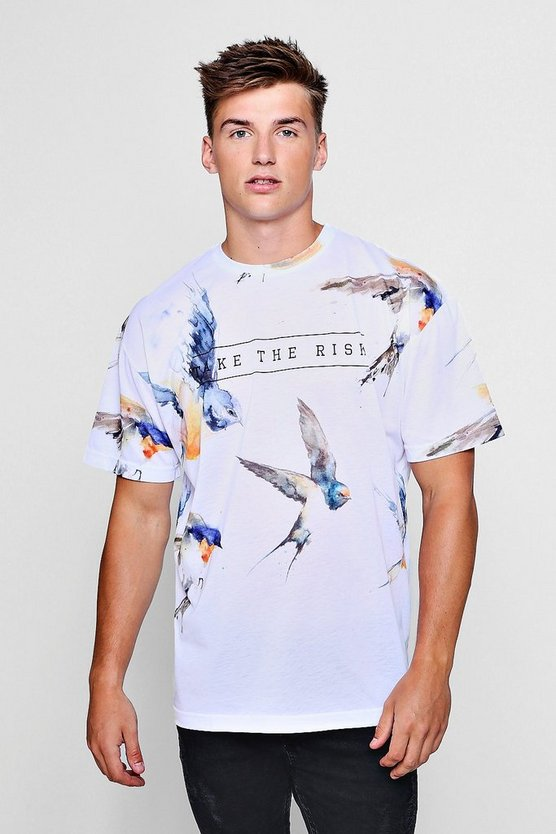 Oversized Bird Slogan Print T-Shirt