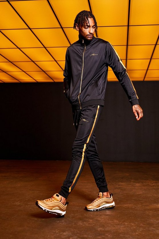 Mens Black Gold MAN Embroidered Funnel Neck Tricot Tracksuit With Tape