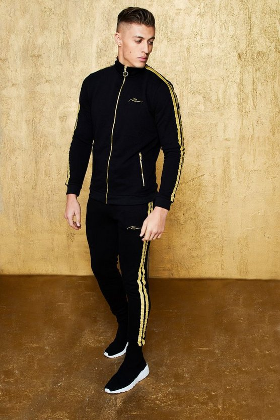 Mens Black Gold MAN Embroidered Funnel Tracksuit with Tape