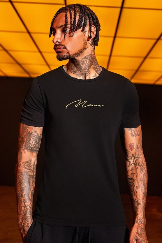 Gold MAN Embroidered Muscle Fit T-Shirt