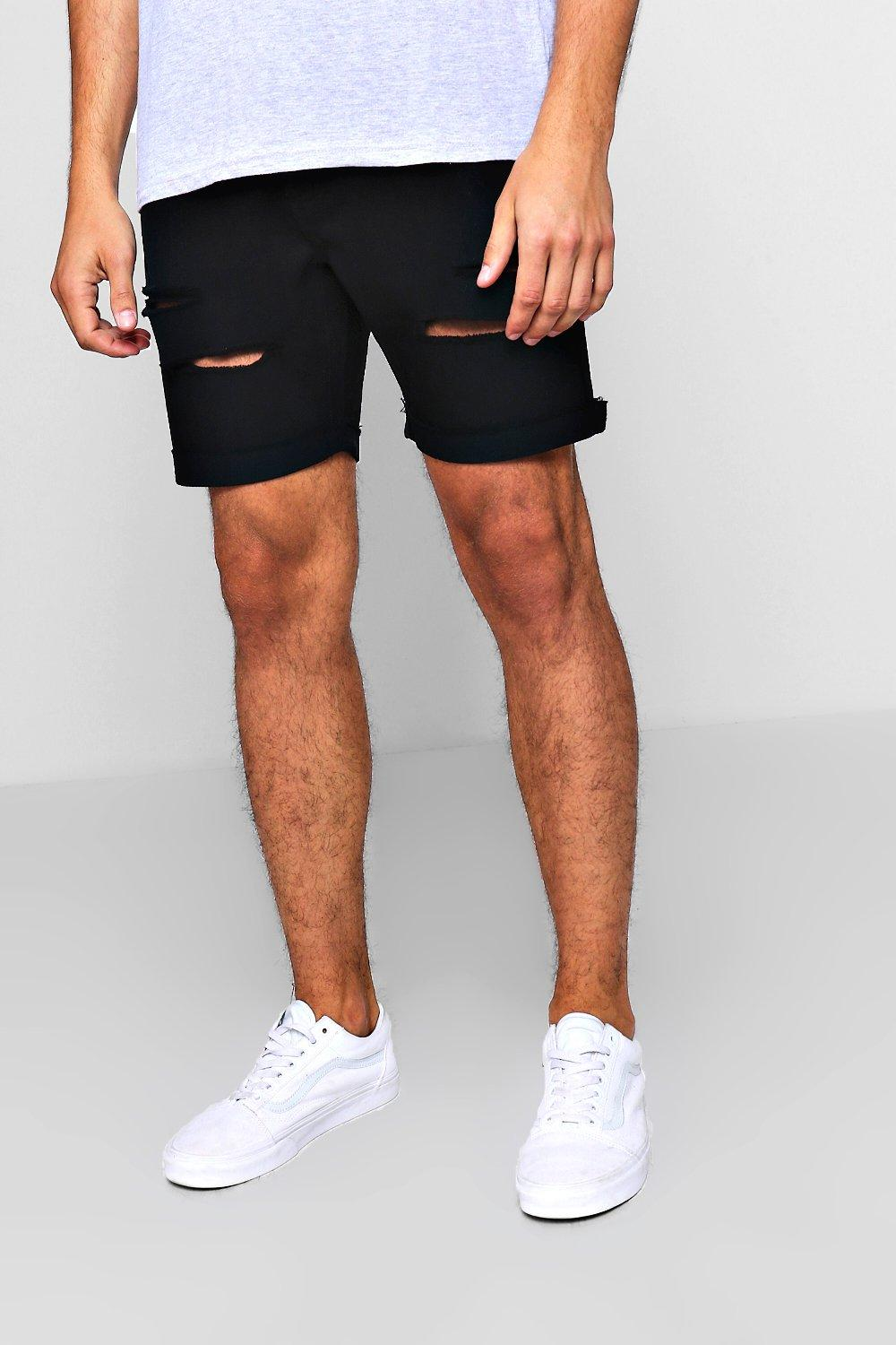 Slim Fit Distressed Denim Shorts With Eyelets