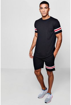 T-Shirt & Mid Length Short Set With Taping, Black, HERREN