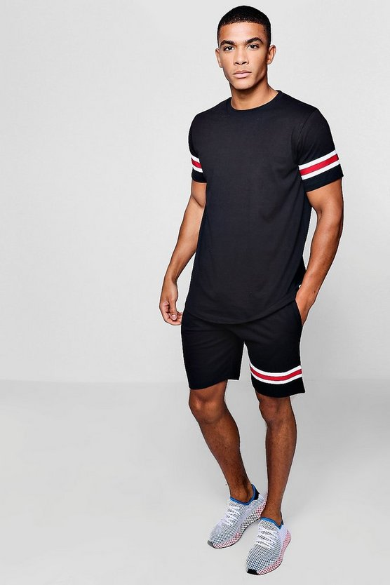 Mens Black T-Shirt & Mid Length Short Set With Taping