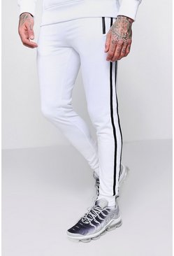 Mens White Super Skinny Side Tape Joggers