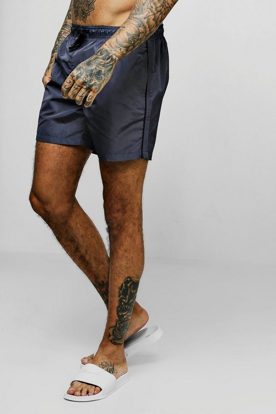Mid Length Swim Shorts With Piping