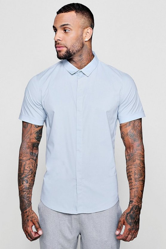 Short Sleeve Cotton Stretch Muscle Fit Shirt