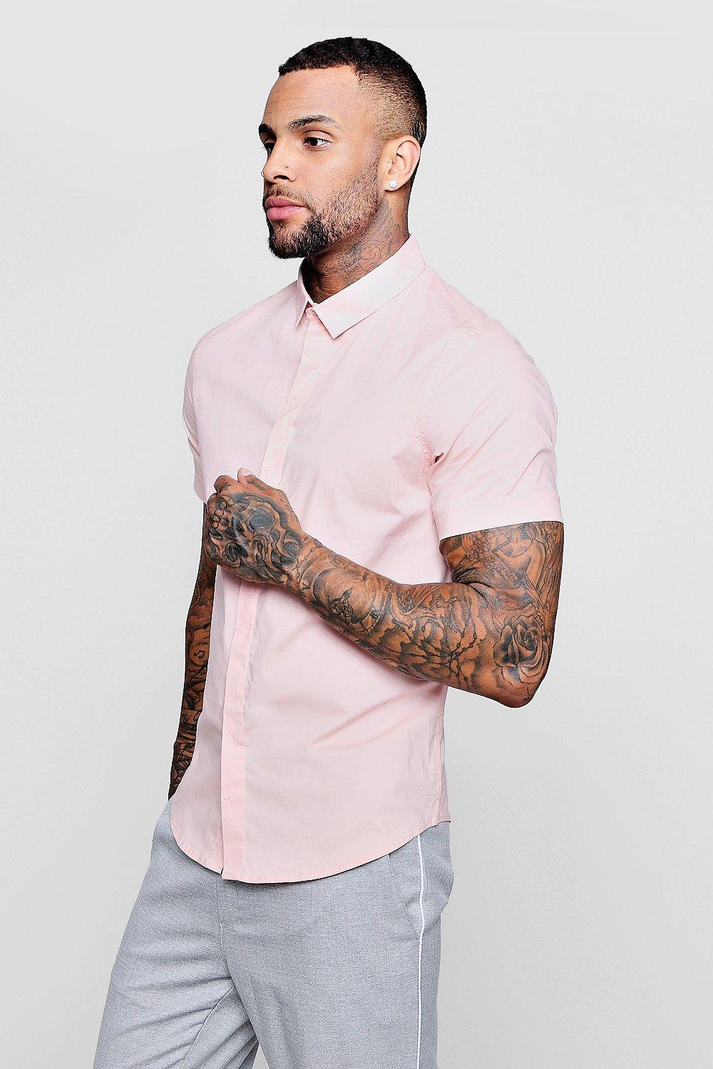 7c2b3b000 Mens Pale pink Short Sleeve Cotton Stretch Muscle Fit Shirt. Hover to zoom. Close  video