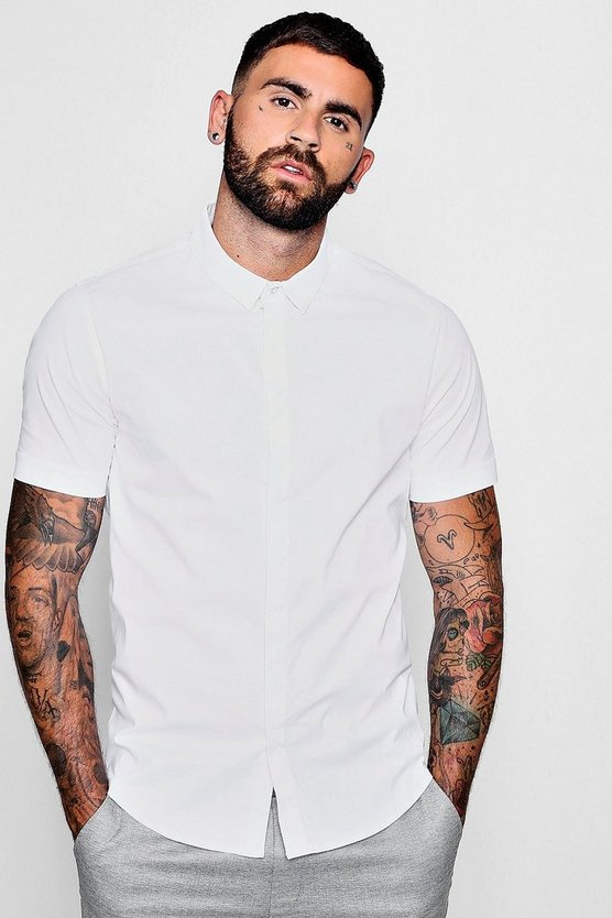 Mens White Short Sleeve Cotton Stretch Muscle Fit Shirt