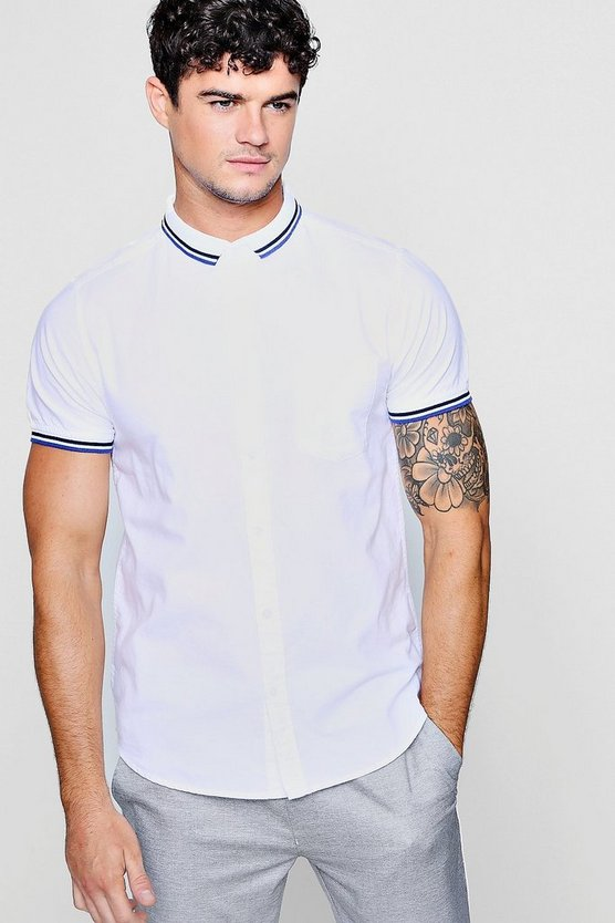 Short Sleeve Oxford Shirt With Tipped Collar, White, Uomo