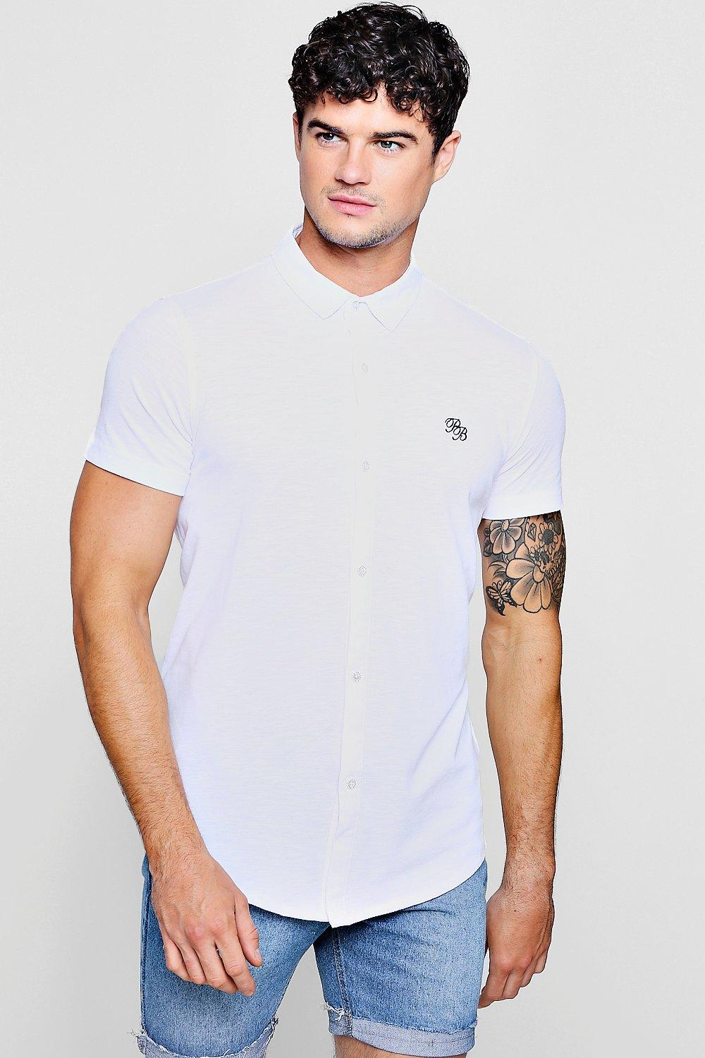 a45e02555 Short Sleeve Cotton Pique Logo Muscle Fit Shirt. Hover to zoom. Close video