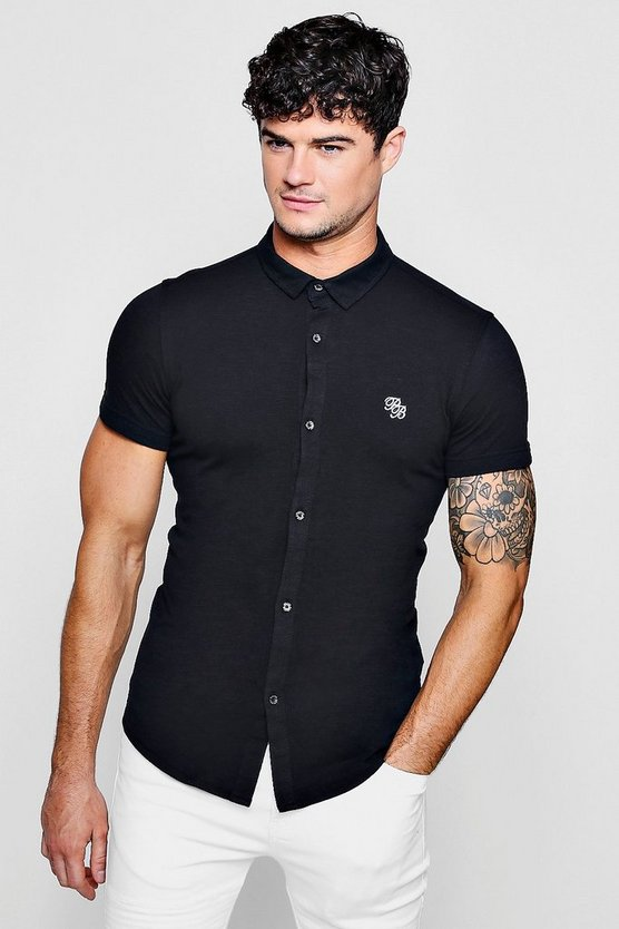 Short Sleeve Cotton Pique Logo Muscle Fit Shirt