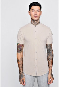 Mens Stone Short Sleeve Granded Shirt With Pocket Detail