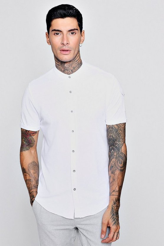 Short Sleeve Grandad Shirt With Pocket Detail